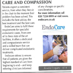 EndoCare Jan 16 The Dentist PR - Care and Compassion