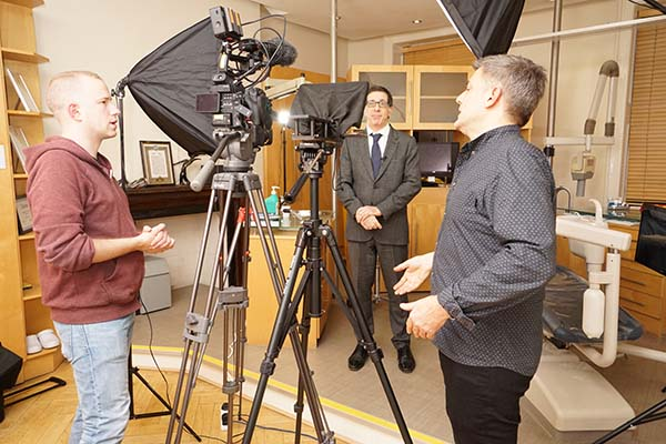 Dr Michael Sultan London based Endodontist in behind the scenes video shoot